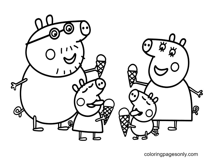 Peppa Pig Family Eating ice Cream Coloring Page