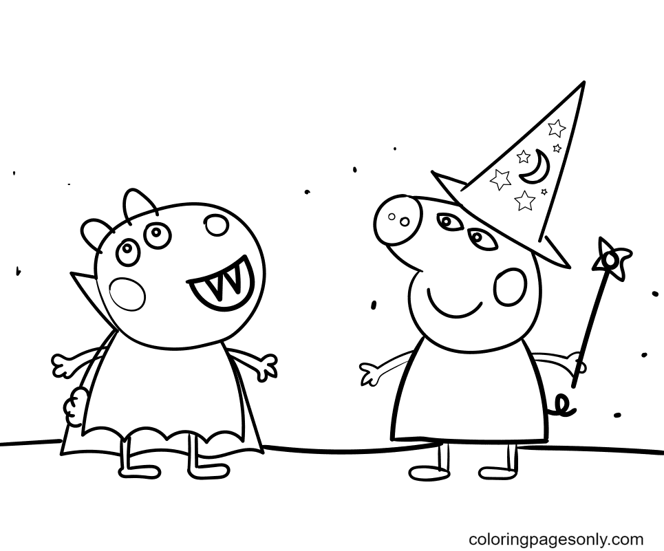 Peppa Pig Halloween Party Coloring Page