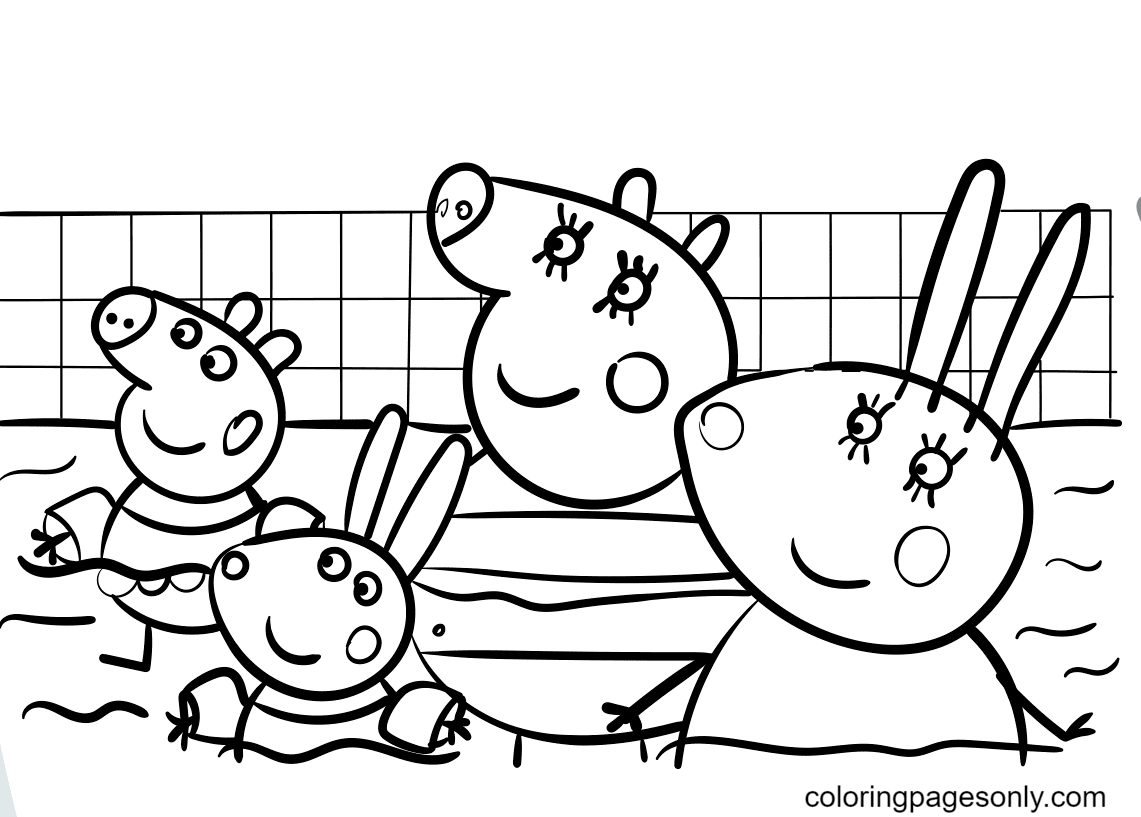 Peppa Pig Swimming Pool Coloring Page