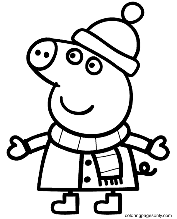 Peppa Pig Winter Coloring Page
