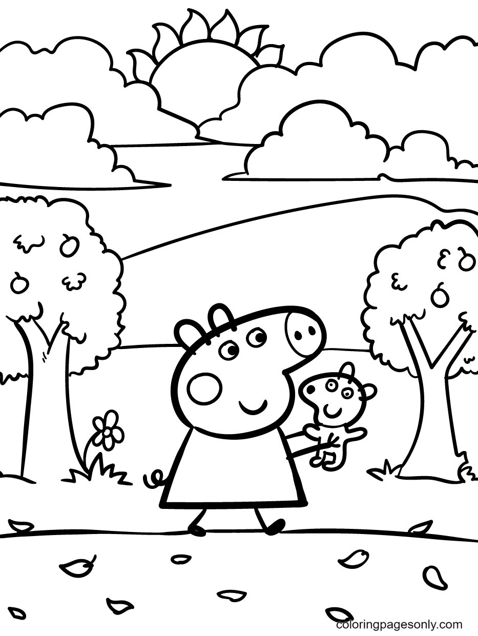 Peppa Pig and Teddy Walking Through the Apple Trees on a Sunny Day Coloring Page