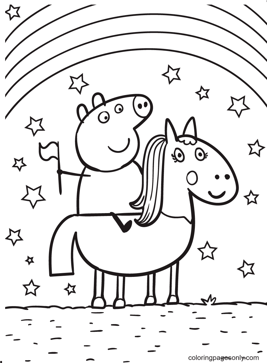 Peppa Riding a Horse Under the Stars and Rainbow Coloring Page