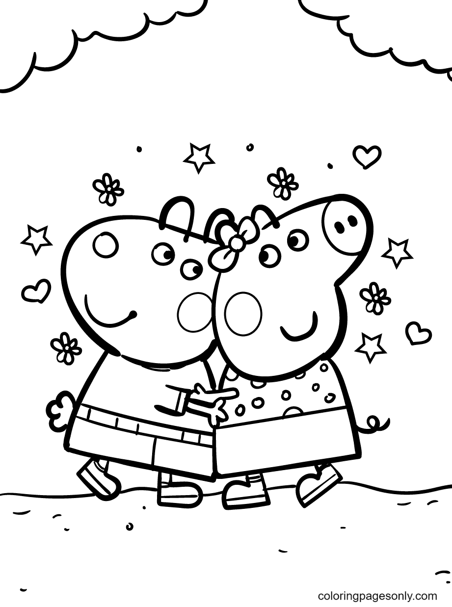 Peppa and Best Friend Suzy Sheep Coloring Page