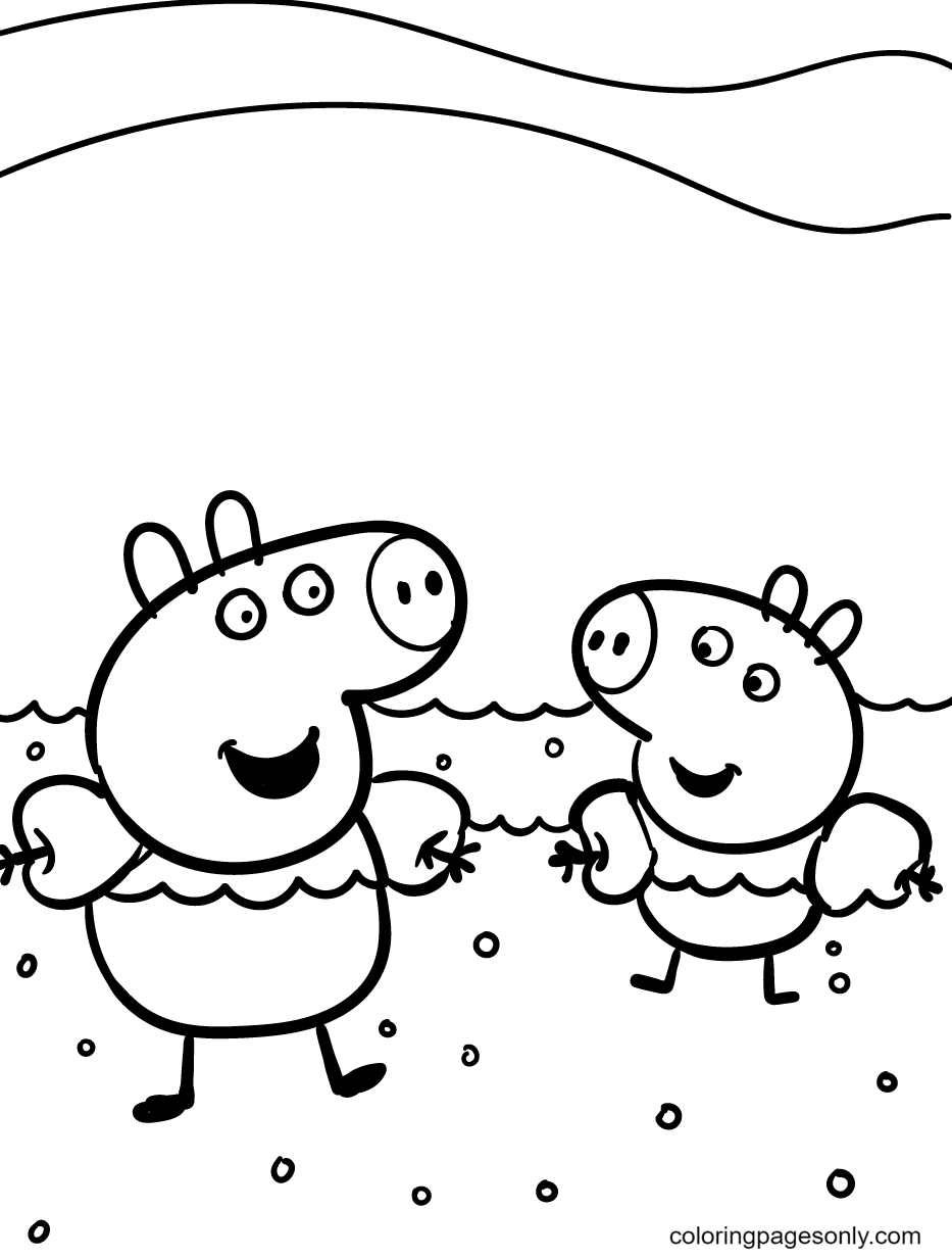 Peppa and George go Swimming Coloring Page