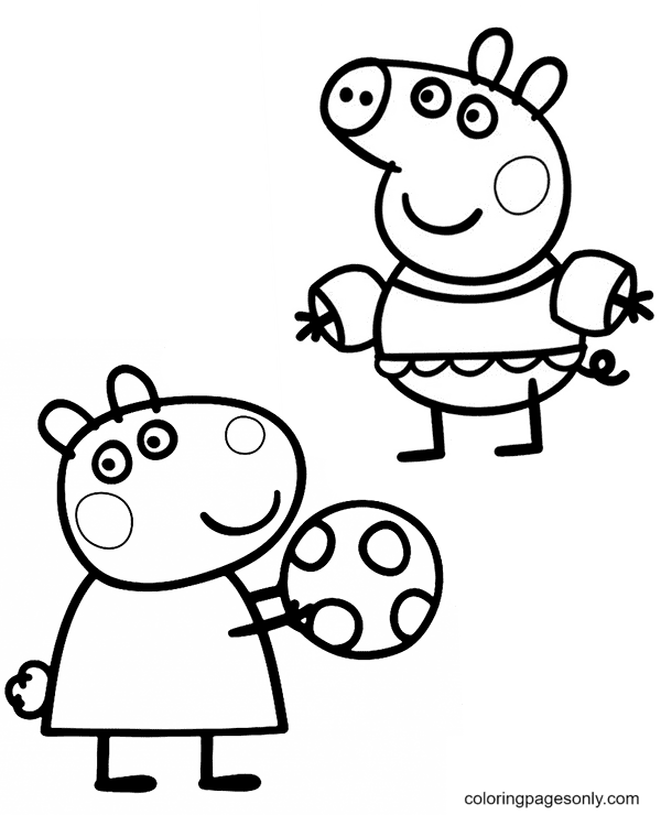 Peppa and Suzy Coloring Page