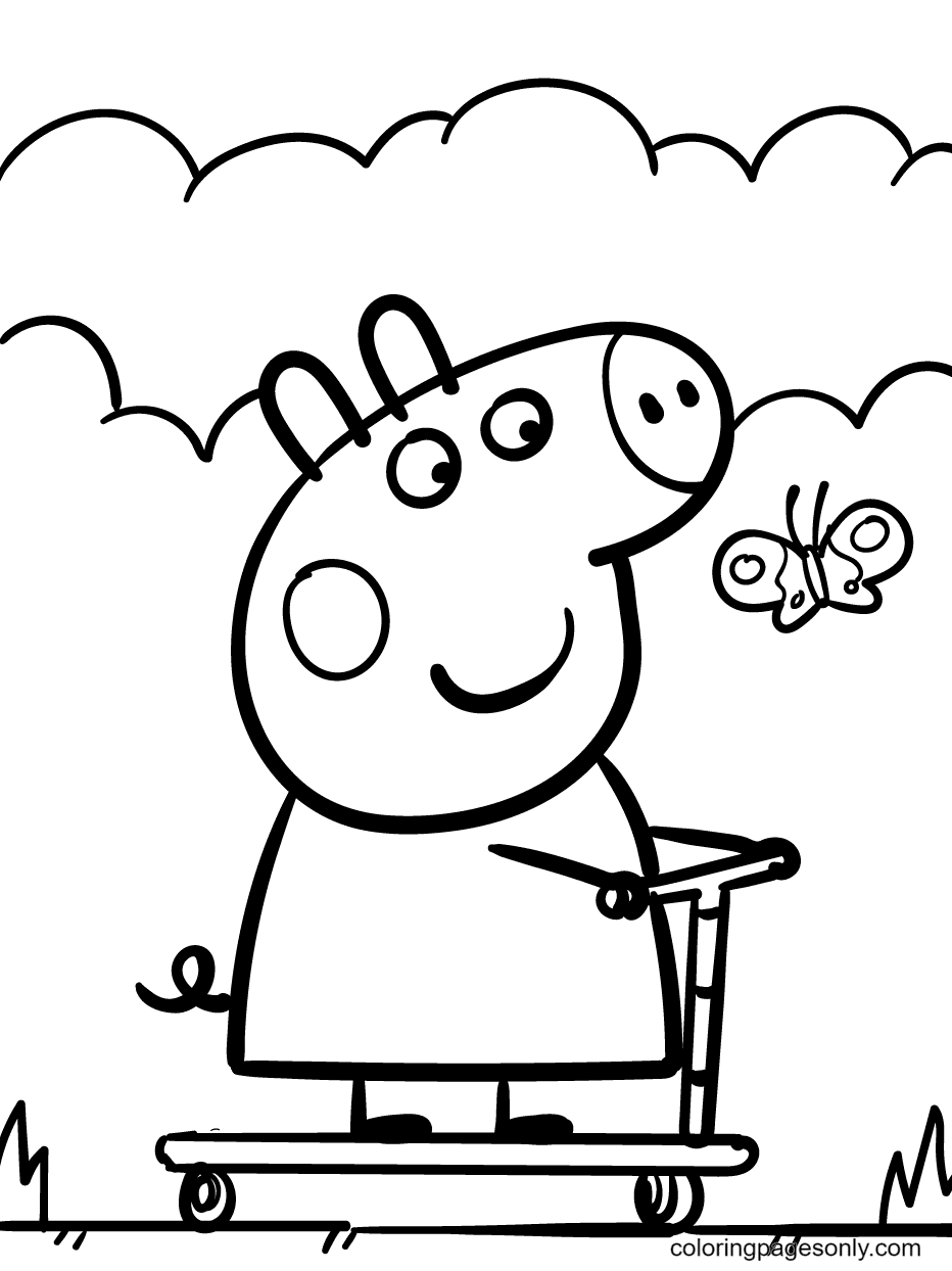 Peppa on Scooter and Spotted a Pretty Butterfly Coloring Page