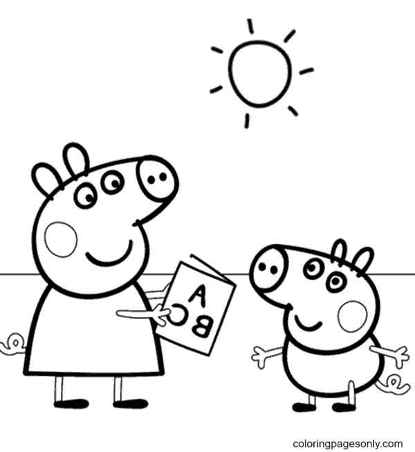 Peppa with Brother Coloring Page