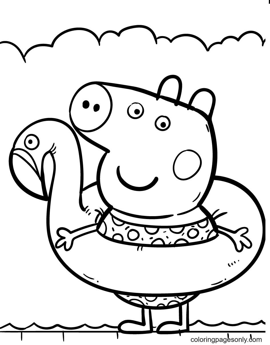 Peppa with Flamingo Swim Float Coloring Page