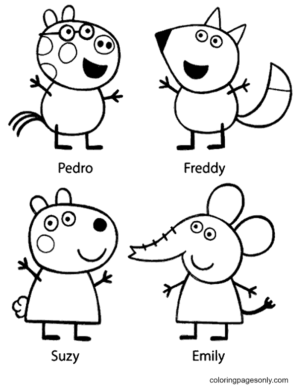Peppa's friends Coloring Page