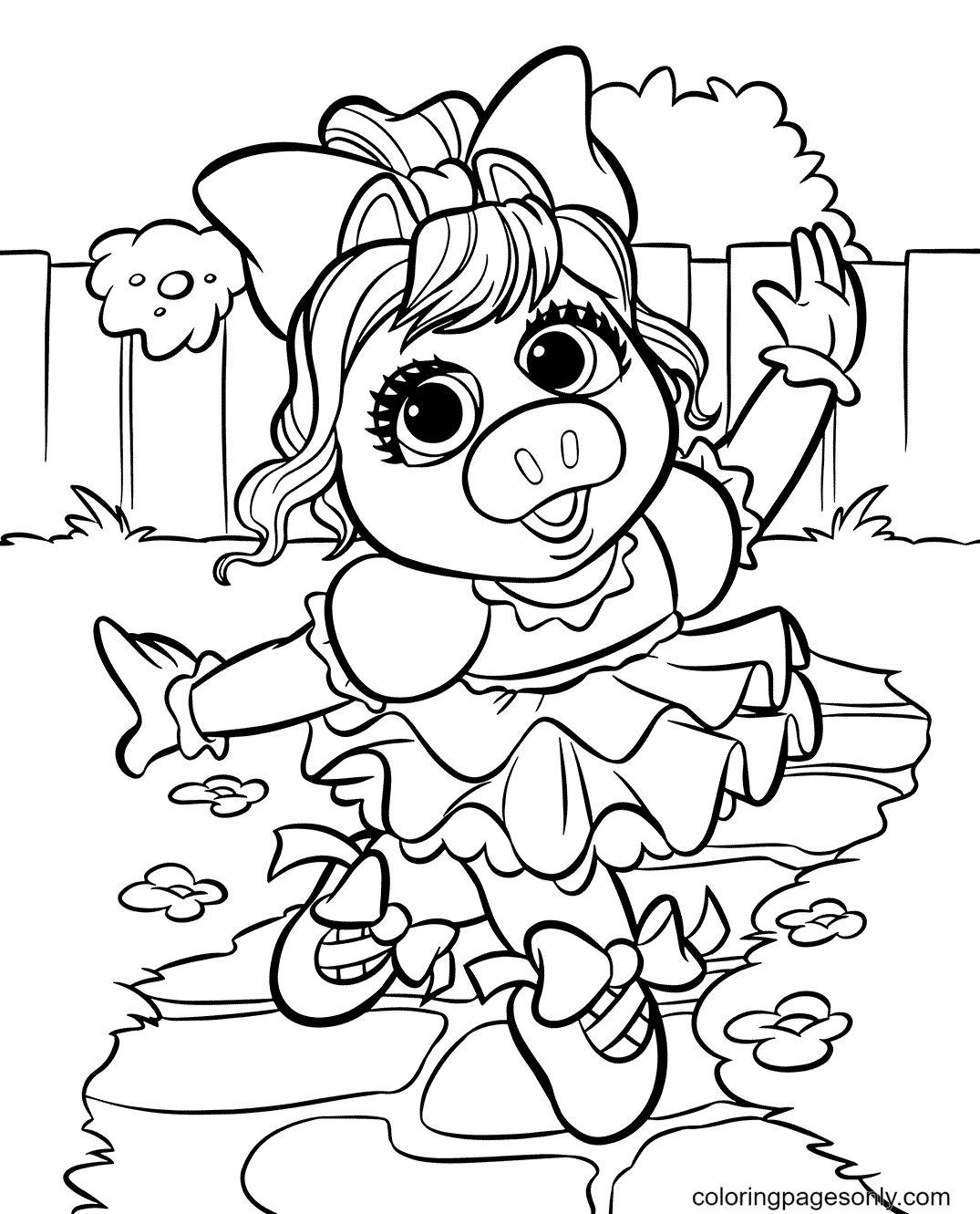 Piggy Muppet Babies Coloring Page