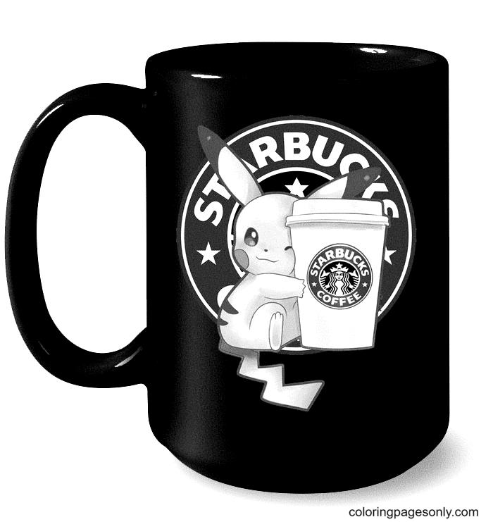Pikachu Drinking Starbucks Coffee Coloring Page