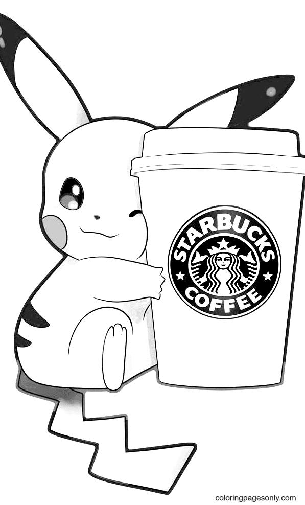 Pikachu love Starbucks Coffee Coloring Page