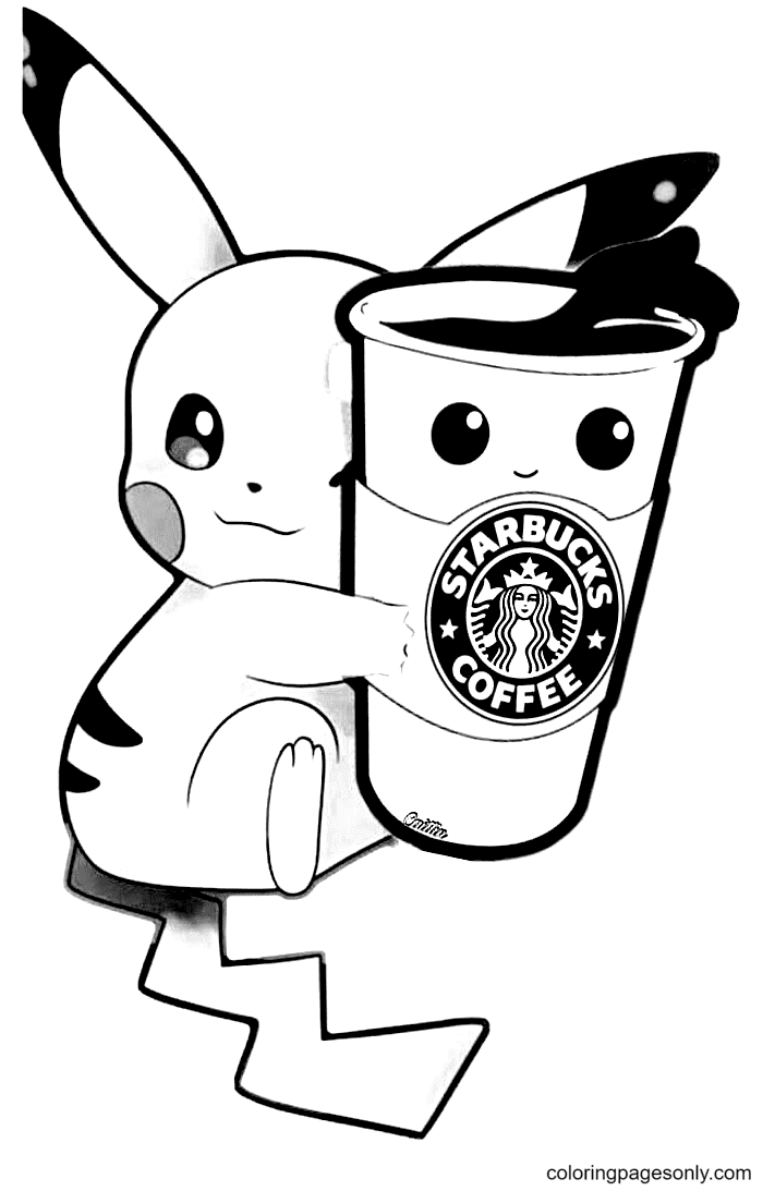 Pikachu with Starbucks Coffee Coloring Page