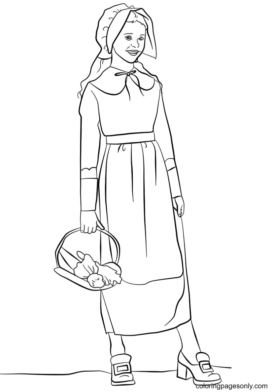 Pilgrim Girl Printable Coloring Page