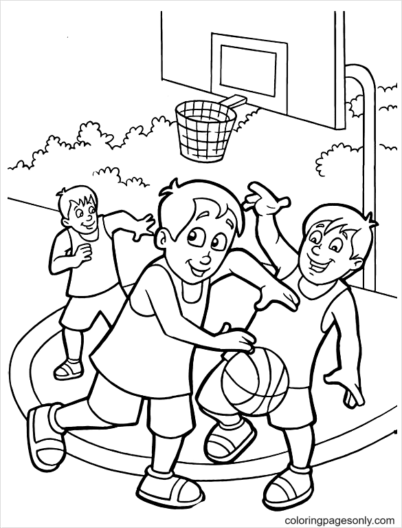 Play Basketball With Friends Coloring Page