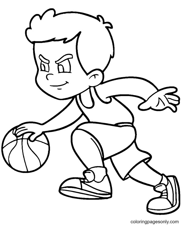 Play Professional Basketball Coloring Page