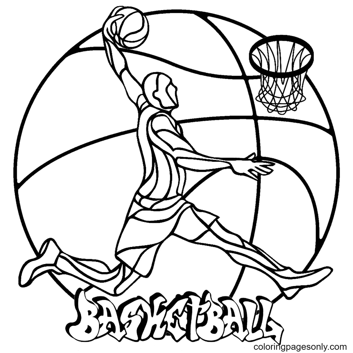 Player Throws The Ball into The Basket Coloring Page