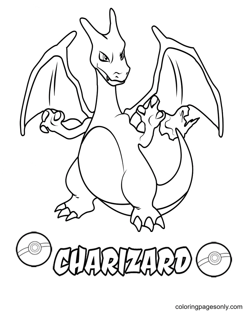 Pokemon Charizard Free Coloring Page