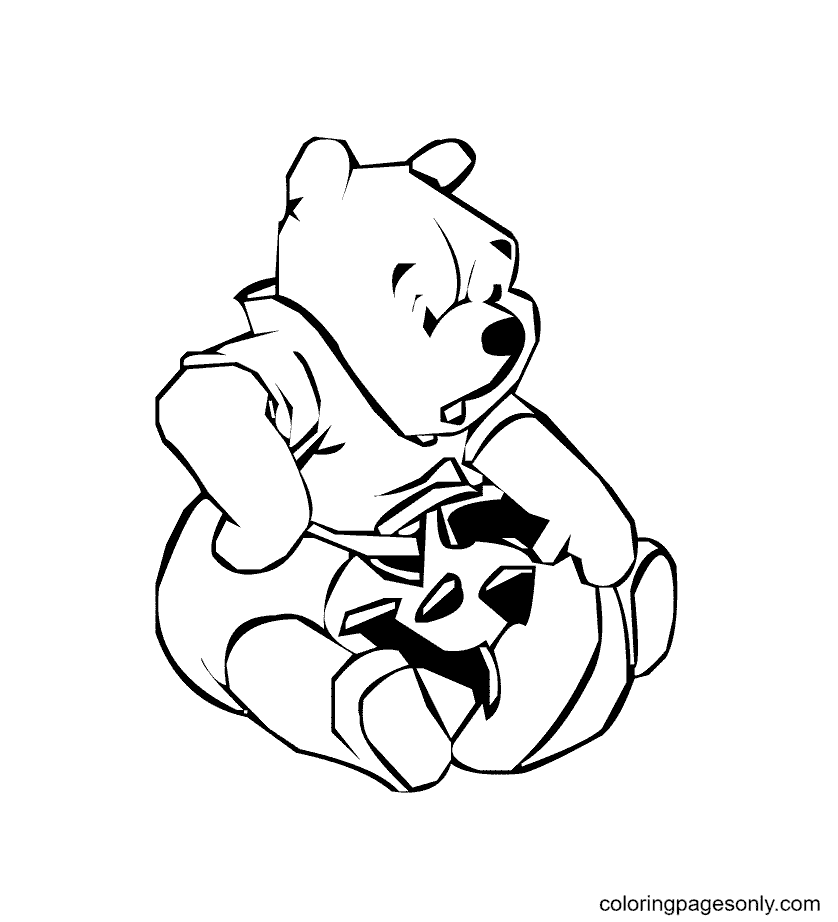 Pooh Carving Halloween Pumpkin Coloring Page