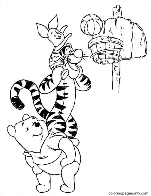 Pooh and Tigger are Helping Piglet Score Coloring Page