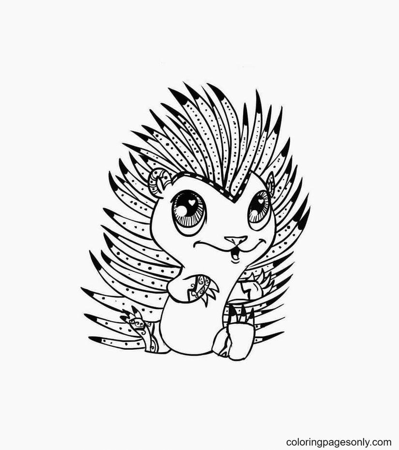 Porcupine Kawaii Coloring Page