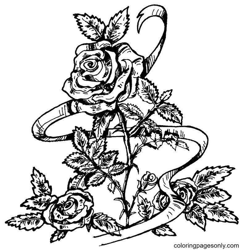 Pretty Rose Branch Coloring Page