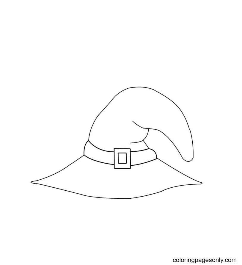 Pretty Witch Hat Coloring Page