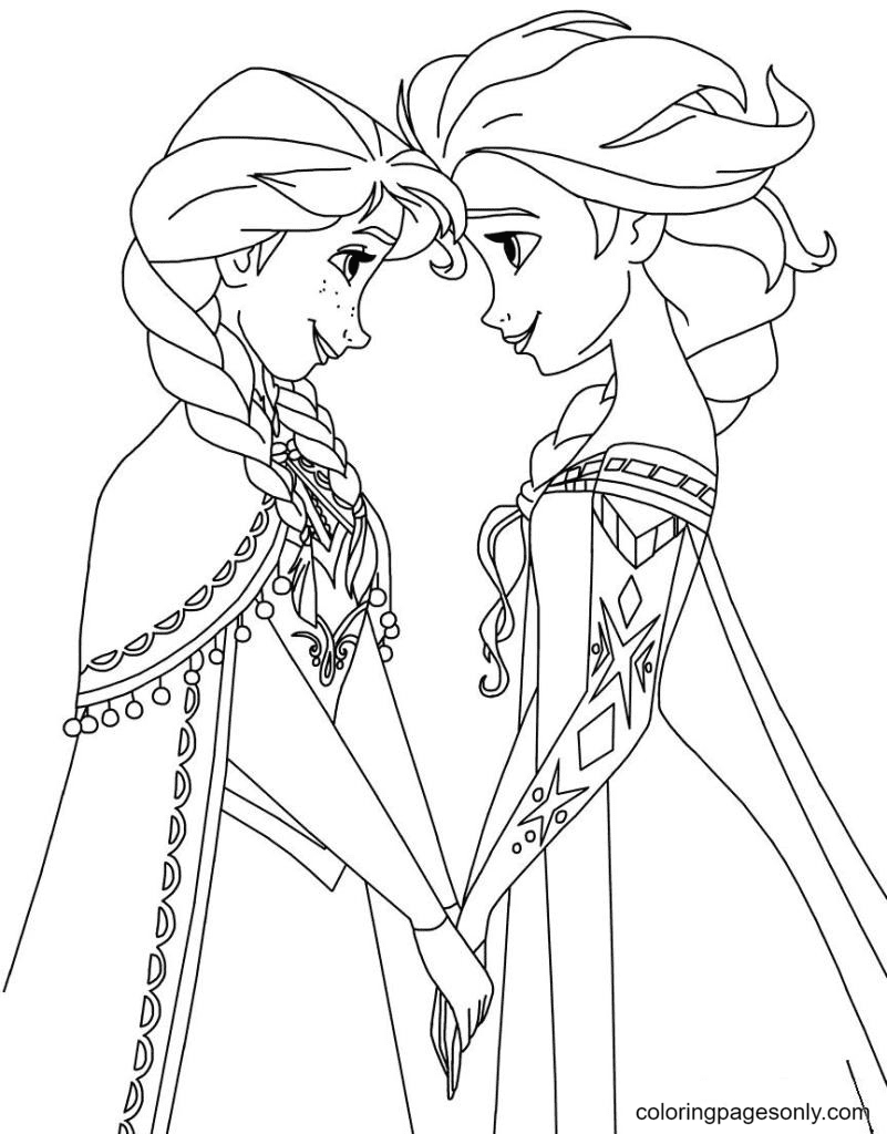 Princess Anna and Elsa the Ice Queen Coloring Page