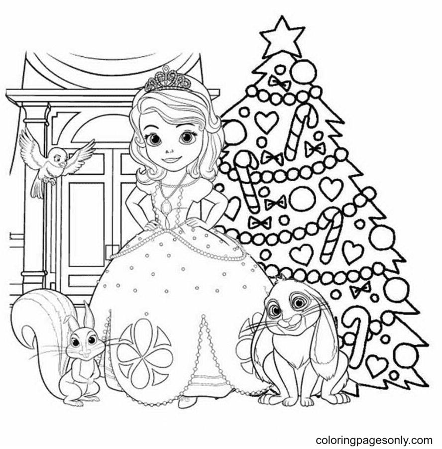 Princess Sofia Christmas Coloring Page