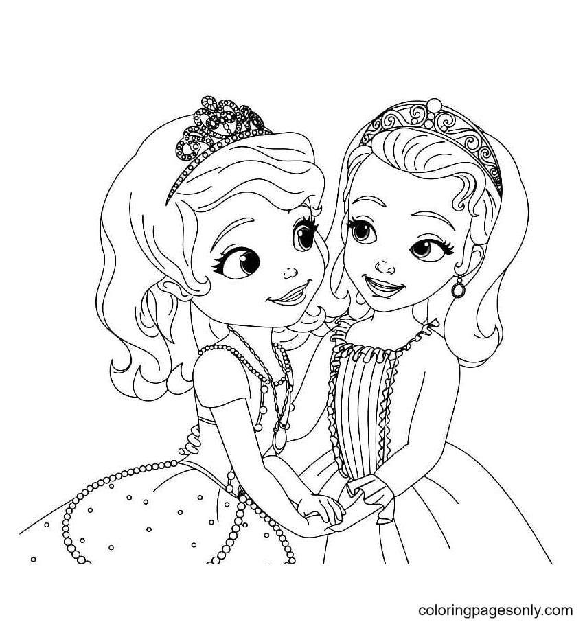Princess Sofia and Amber Coloring Page