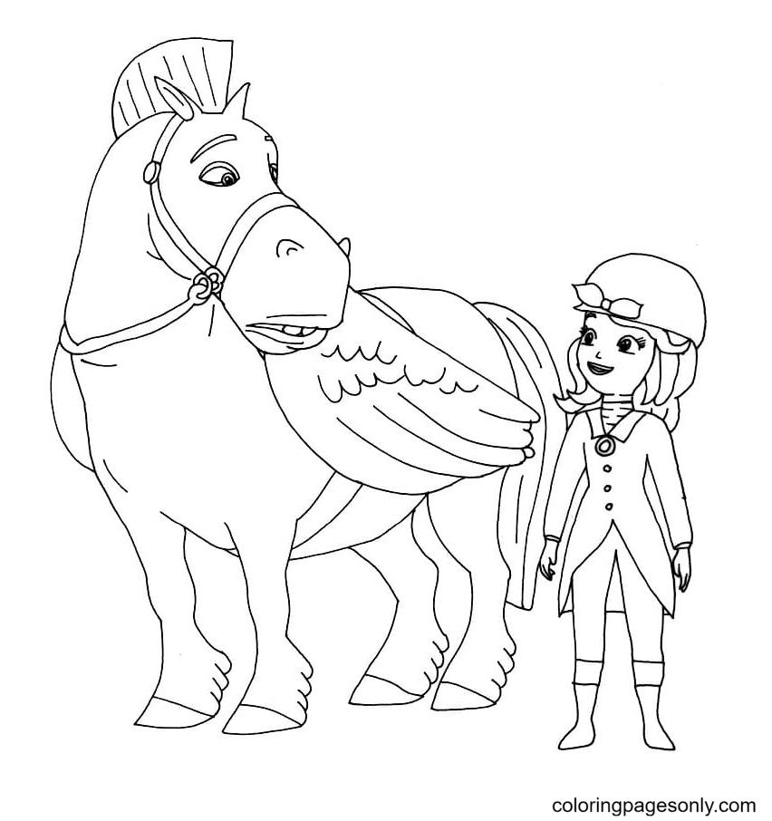 Princess Sofia and Pegasus Coloring Page
