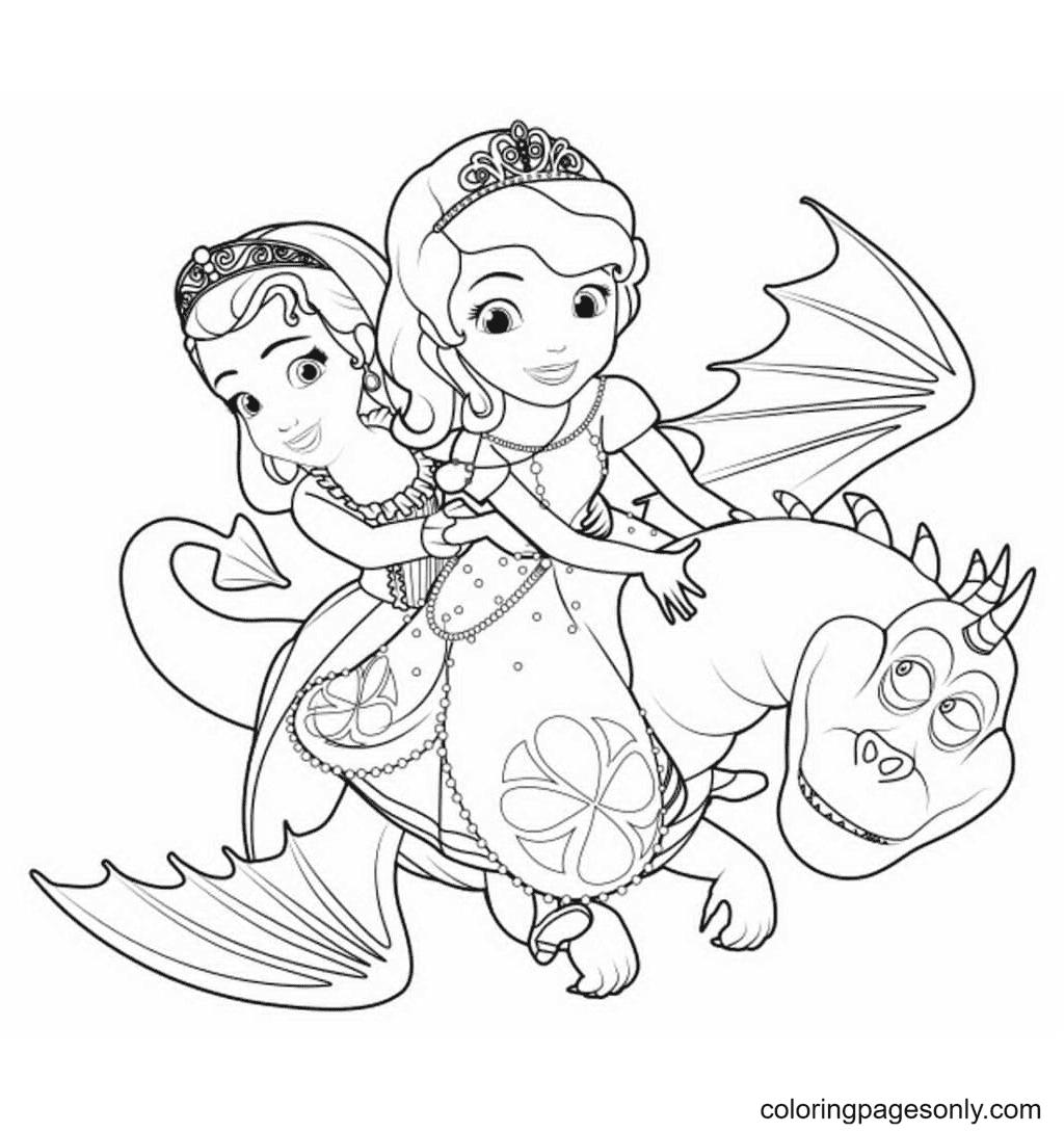 Princess Sofia on the dragon Coloring Page