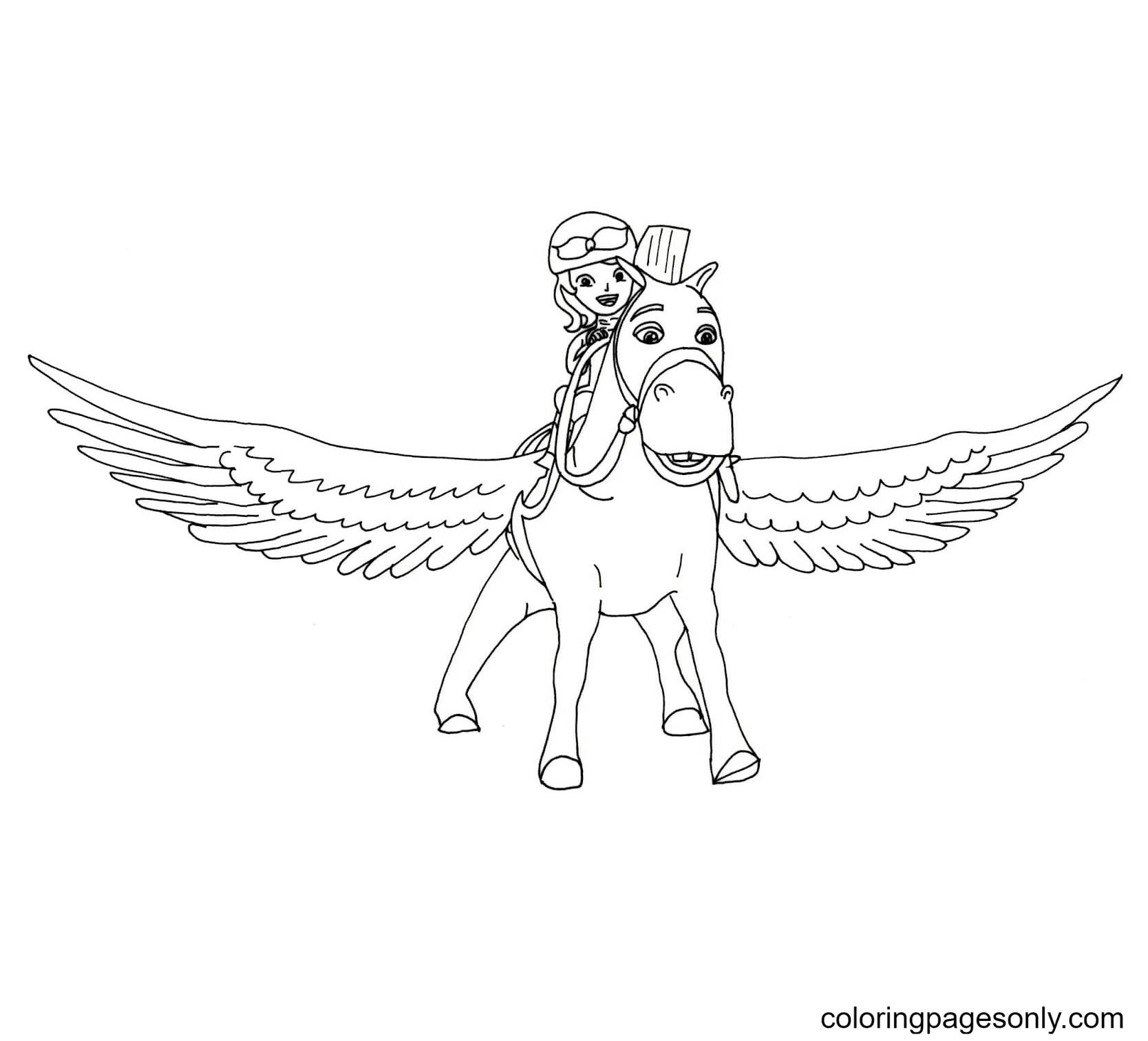 Princess Sofia rides a Pegasus Coloring Page