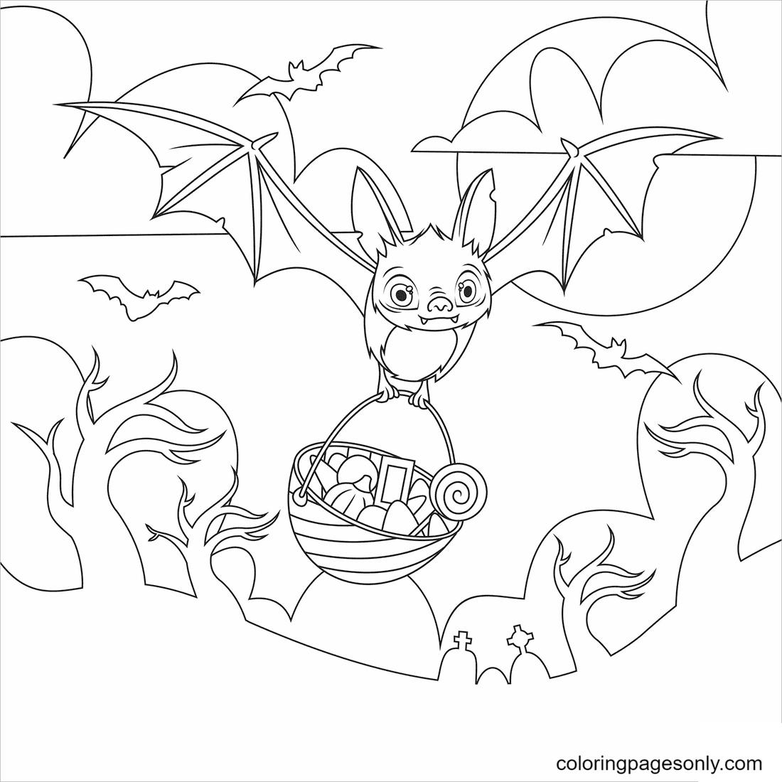 Printable Bats Halloween Free Coloring Page