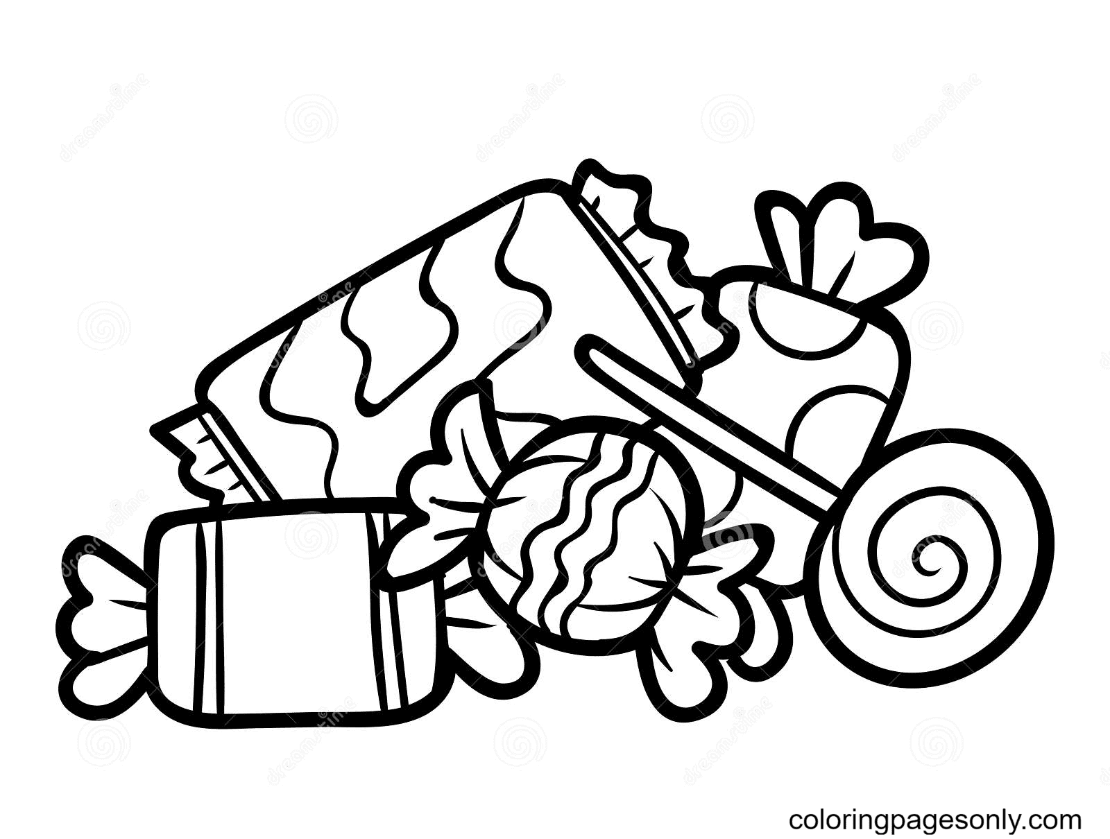 Printable Candies Coloring Page