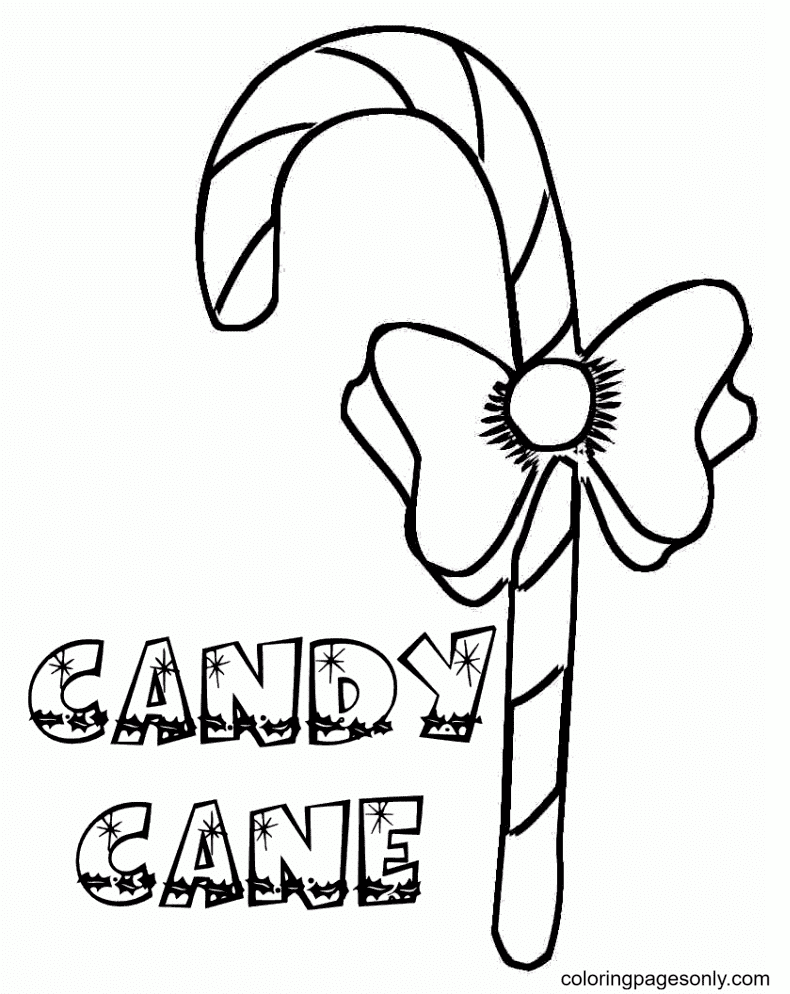 Printable Candy Cane Coloring Page