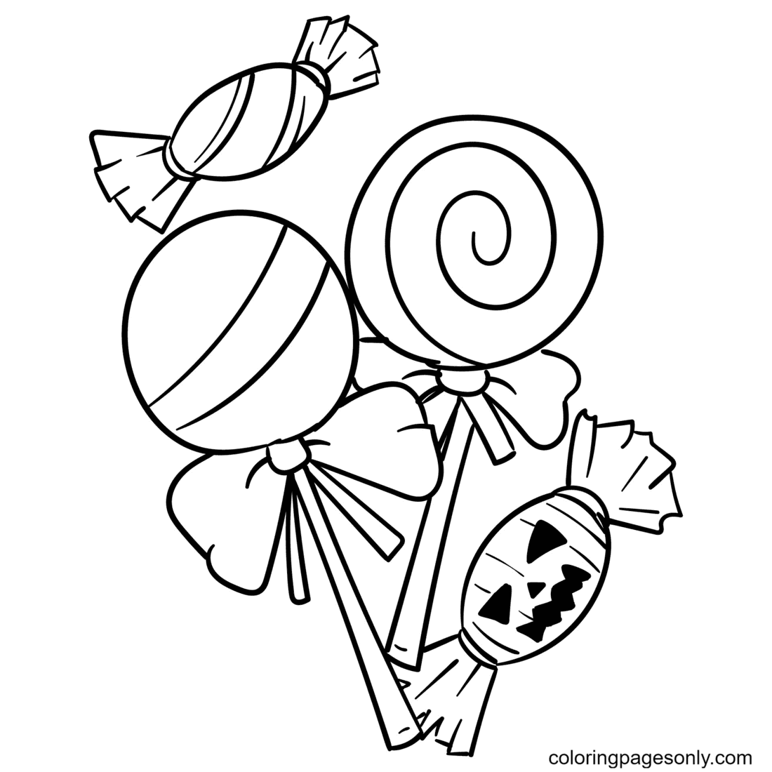 Printable Halloween Candy Coloring Page