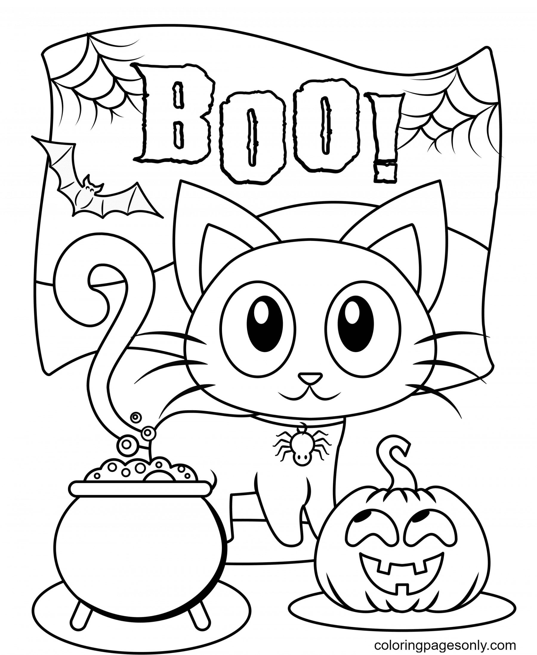 Printable Halloween Cat and Pumpkin Coloring Page
