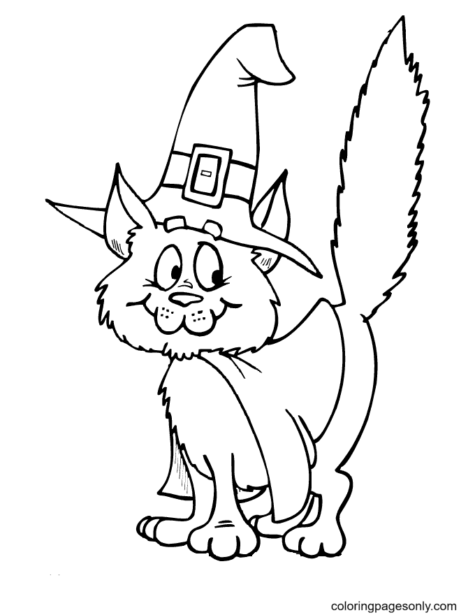 Printable Halloween Cat Coloring Page