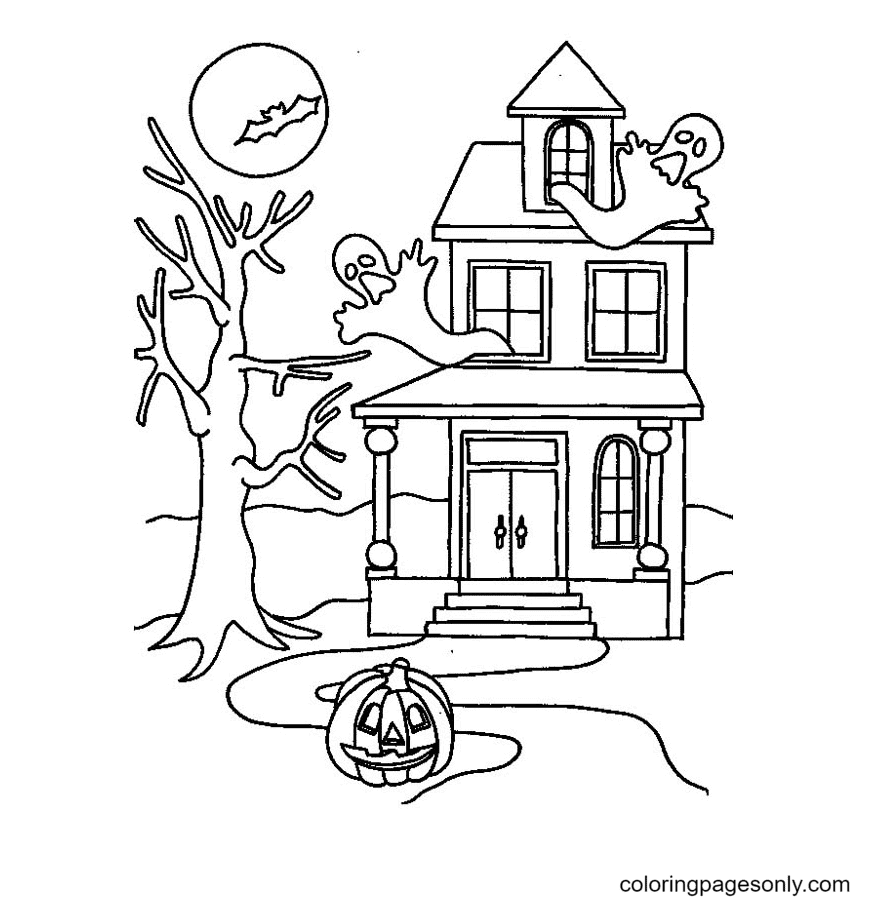 Printable Halloween Haunted House Coloring Page