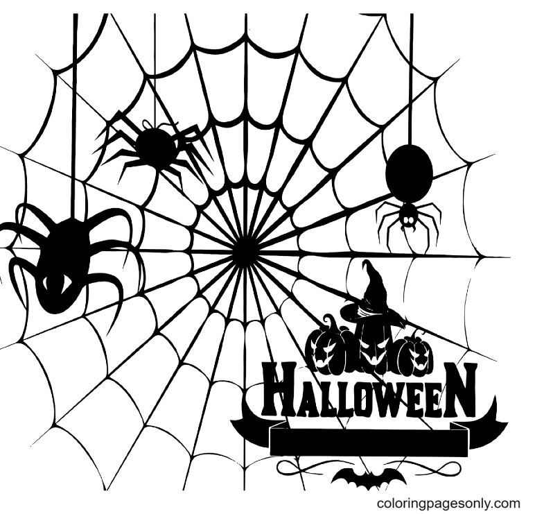 Printable Halloween Spider Coloring Page