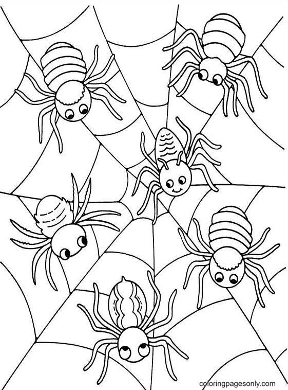 Printable Halloween Spiders Web Coloring Page