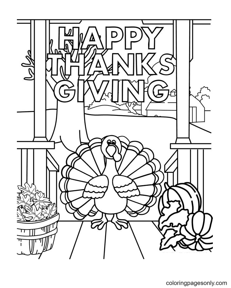 Printable Happy Thanksgiving Coloring Page