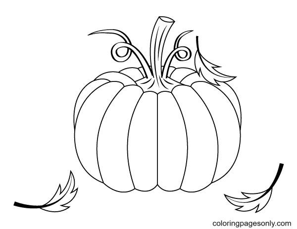 Printable Pumpkin and Leaves Coloring Page