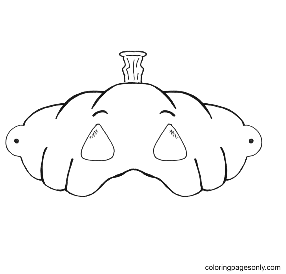 Pumpkin Face Mask Coloring Page