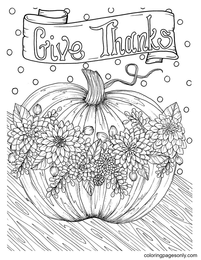 Pumpkin Give Thanks Coloring Page
