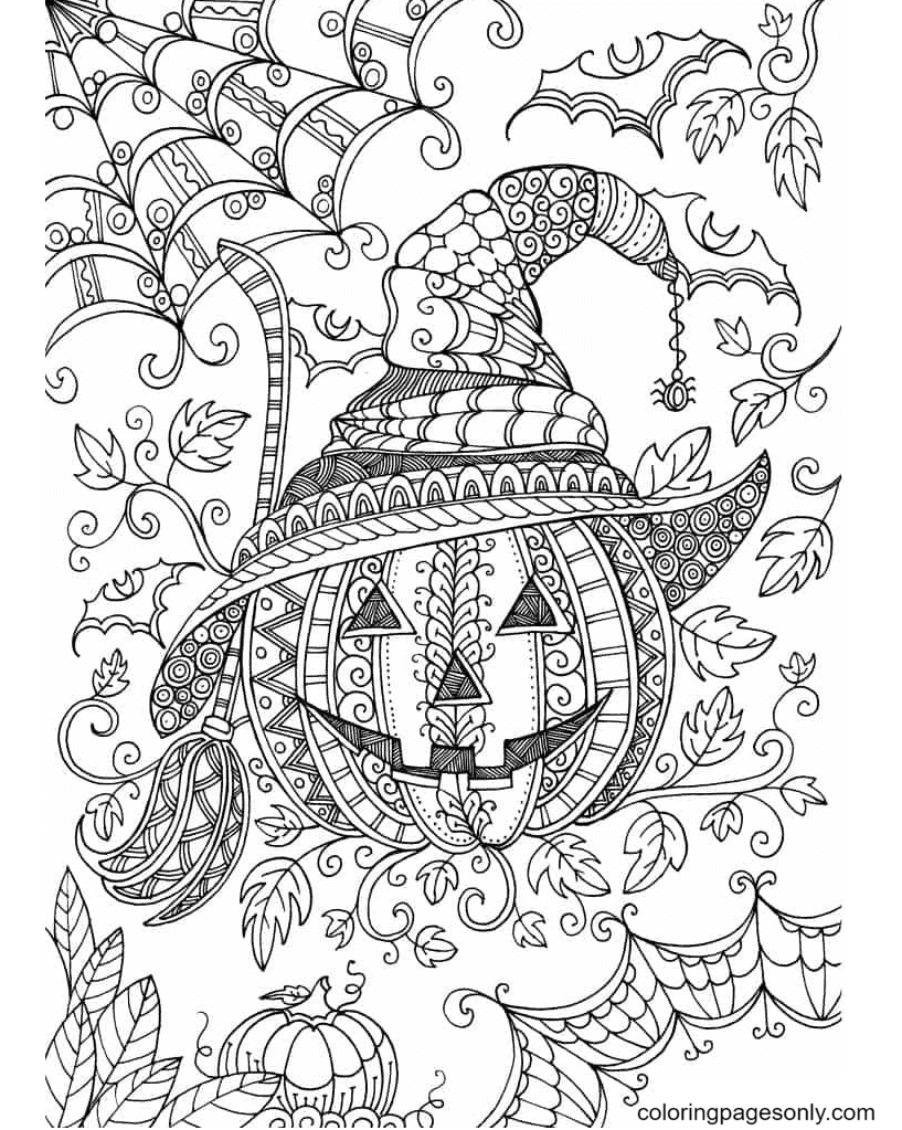 Pumpkin Halloween Mandala Printable Coloring Page