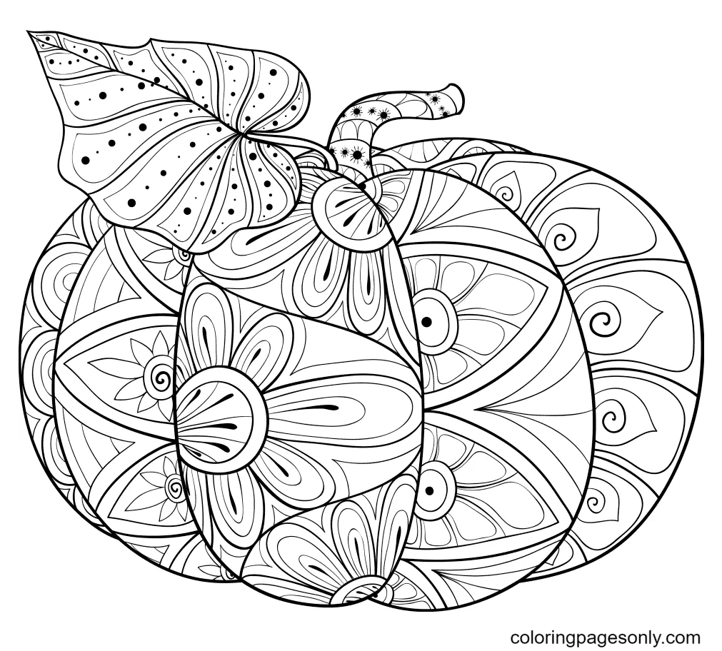 Pumpkin Halloween Mandala Coloring Page