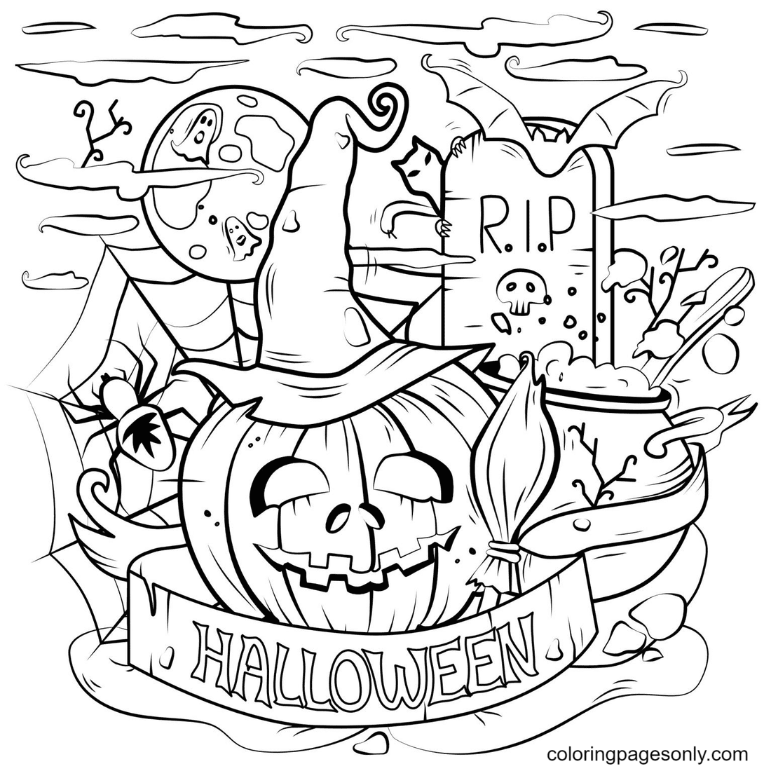 Pumpkin Halloween and Cauldron Spooky Coloring Page
