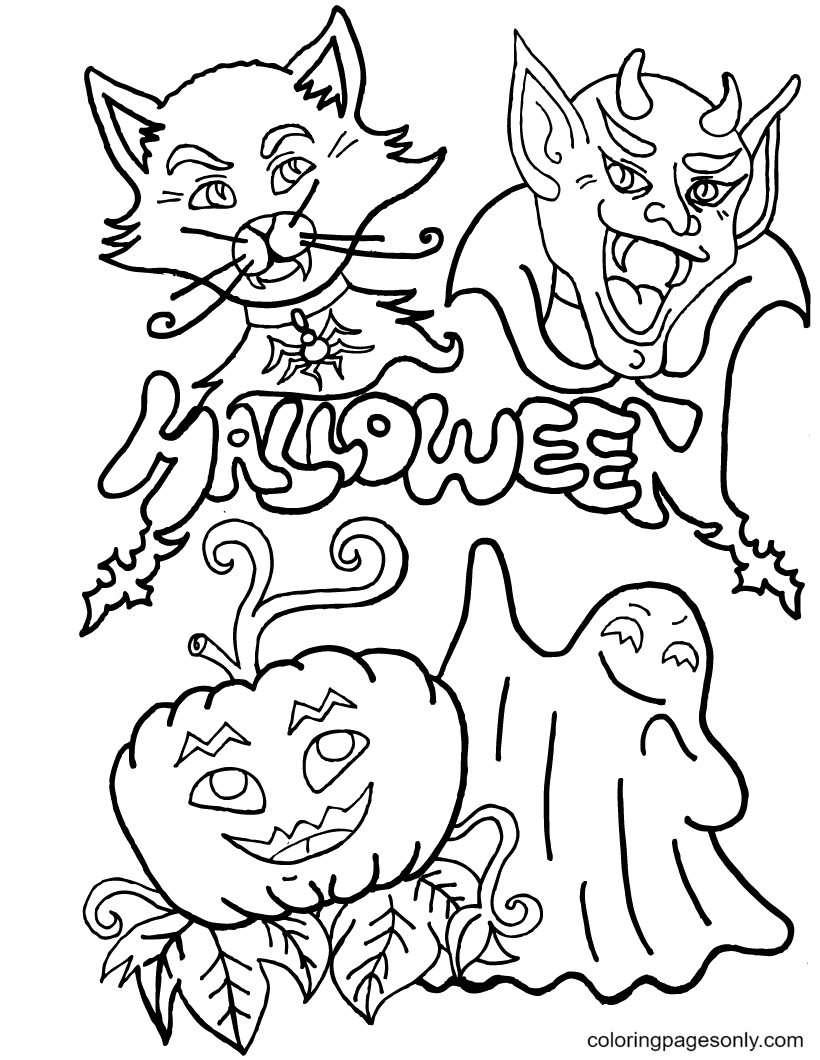 Pumpkin Lamp and Monsters Coloring Page